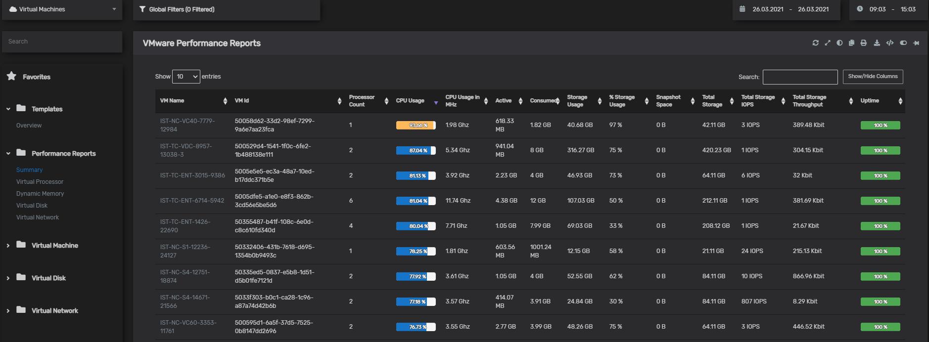 VMware Performance Reports